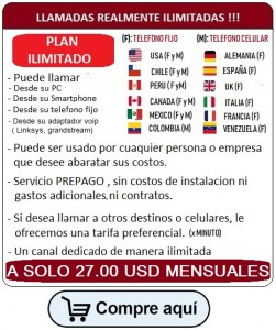 Plan ilimitado, Venezuela Colombia Chile Peru